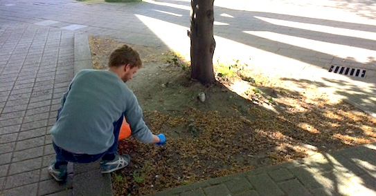 Tom picks up litter in Hammersmith