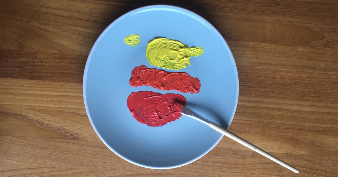 squeeze paint onto a plate