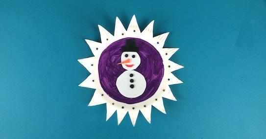 Paper plate snowman scene