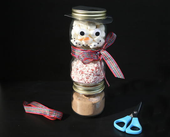 Add scarf to snowman jars