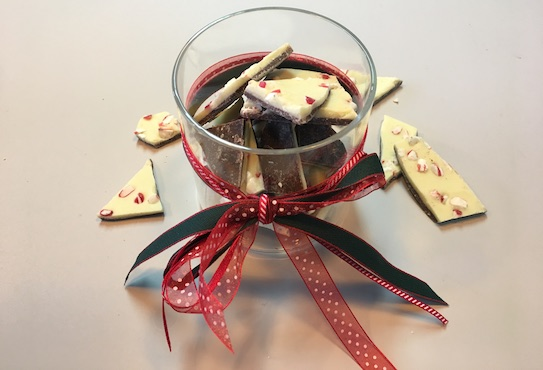 Jar of peppermint chocolate shards