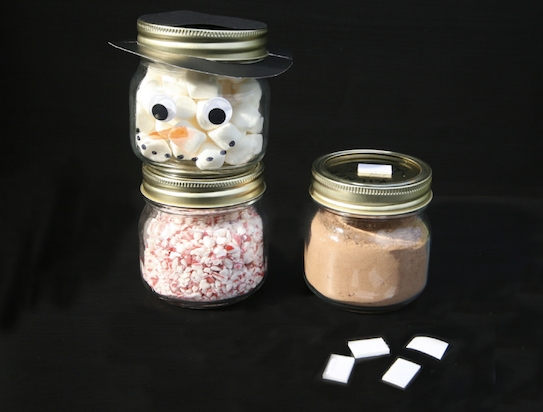 Stack the hot chocolate jars