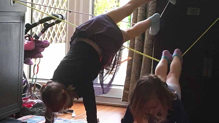 kids indoor gym from things you everyone has at home