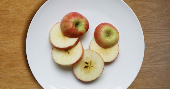 Cut apple into slices