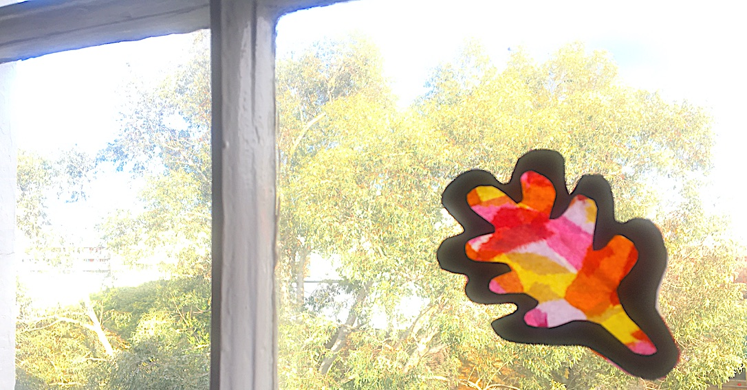 tissue paper sun catcher final step