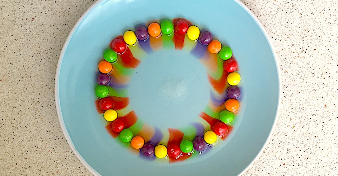 rainbow skittles experiment with sugar