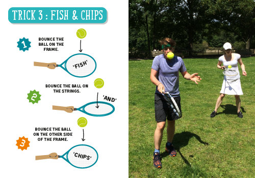 Tennis trick fish and chips