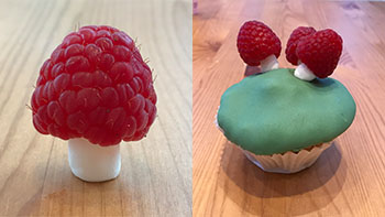 Toadstool cupcake with raspberry toadstools